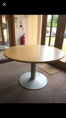 large, round, wood-effect office/Dining table