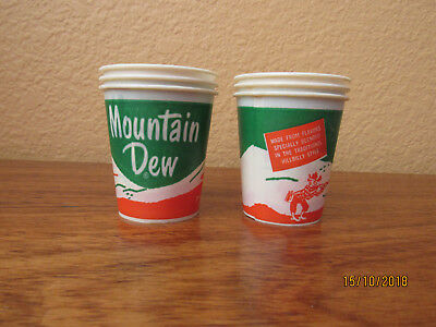 RARE VINTAGE HILLBILLY MOUNTAIN DEW SAMPLE SIZE WAX PAPER CUP Set 6