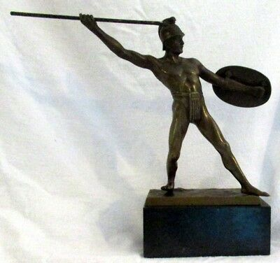 Vintage Signed Bronze Javelin Thrower Sculpture, Beautiful, Estate Find