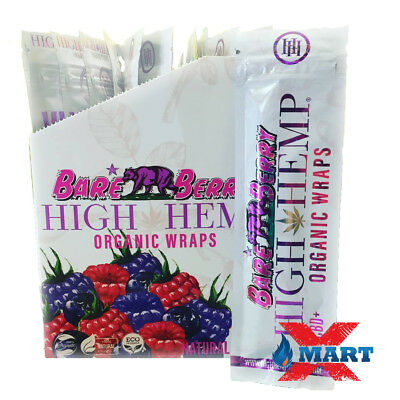 High Hemp Bare Berry Organic Wraps 1 Box 25 Pouch (50 Wraps) NON GMO