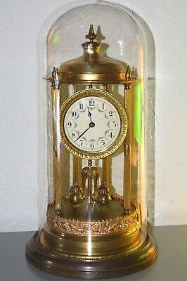 Antique (1920's) 400 Day Glass Dome mantle clock. Made in Germany. Large size.