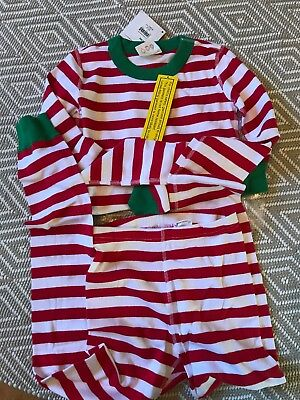 NWT HANNA ANDERSSON Organic Cotton Long Johns Red White Stripe 140 10 Christmas