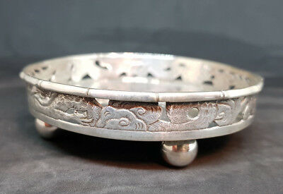 Antique Beautiful Chinese Export Solid Silver Gragon Tray 86.3G.
