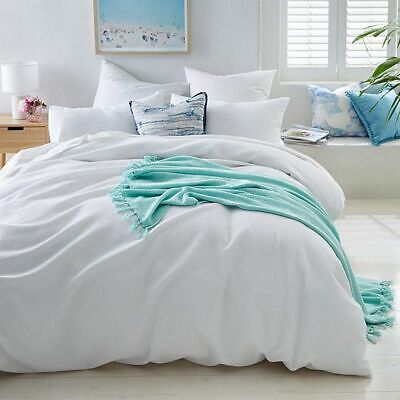 NEW Waffle Quilt Cover Set - White