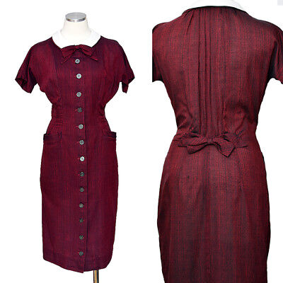 Vintage 50s Dress Wiggle Pencil Red Helen Whiting S 1950s Dress