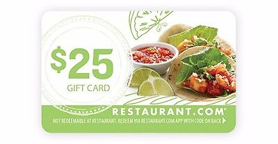 $25 Restaurant.com Gift Card--Free Shipping---No Expiration!