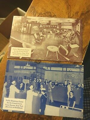 Two New York City NY Times Square Armed Forces Telephone Center Postcards