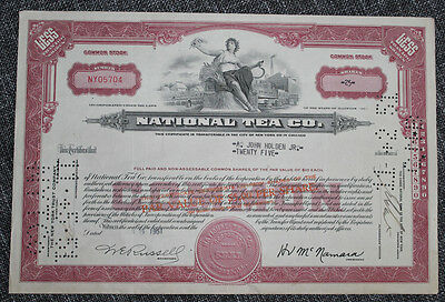 Wertpapier - Sammlerstück - National Tea Co. 25,- Common Stock 1951