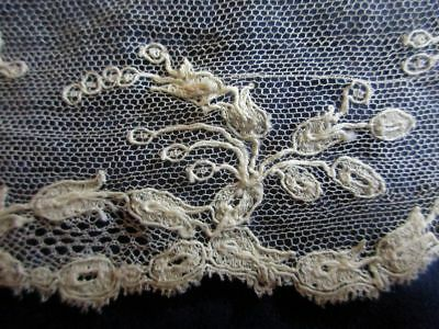 """ANTIQUE LENGTH OF FINE NEEDLE RUN EMBROIDERED NET LACE~4 1/2 yds x 2 1/4"""""""