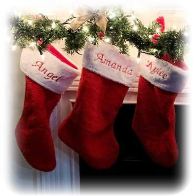 Personalized Christmas Stockings.Personalized Christmas Stocking Monogrammed Plush Red