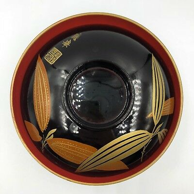Vintage Japanese Lacquer Ware Wooden Covered Bowl Lidded Black Gold BAMBOO Sign