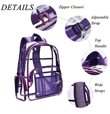 NiceEbag Clear Backpack with Cosmetic Bag Makeup Pouch,Clear Transparent PVC...