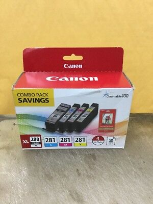 Genuine Canon 280XL PGBK & 281 C/M/Y Ink Cartridges 4 Pack with Photo Paper New
