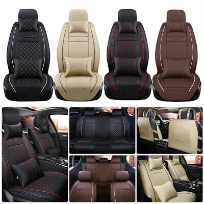 Car Seat Cover 5-Seat SUV Front & Rear Set W/Pillows PU Leather Cushions Covers