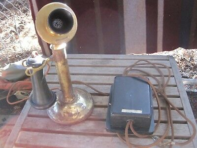 Antique American Bell Candlestick Telephone with Kellogg Switch Box. Untested.