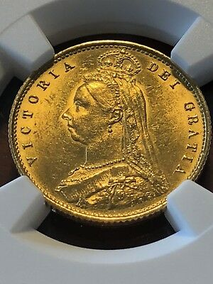 Great Britain: Victoria gold 1/2 Sovereign 1887 - NGC UNC Details Cleaned