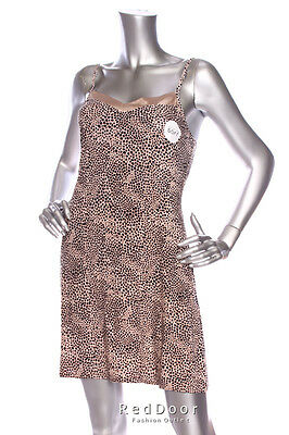 NEW ALFANI Women Spaghetti Strap Silky Slip Dress Nightwear Animal Print XS