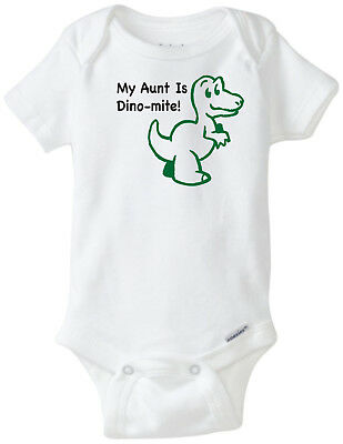 My Aunt Is Dino-mite! Funny Novelty Baby Unisex Onesie Boy Girl Clothes Bodysuit