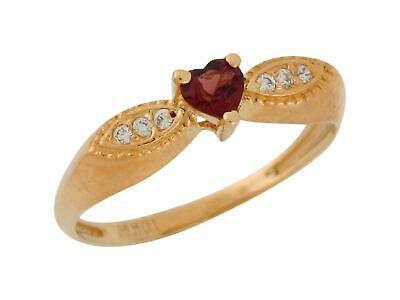 10k or 14k Yellow Gold Natural Garnet and White Topaz Antique Style Ladies Ring
