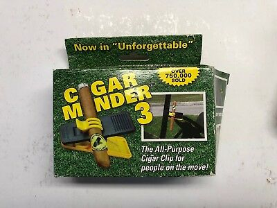 Cigar Minder Clip 3 – Clamp Holder for Golf Carts, Boats & Chairs - YELLOW - NOS
