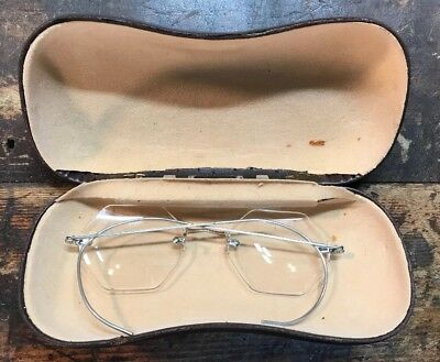 ANTIQUE EYE GLASSES & CASE  Wired Rimmed