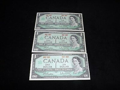 Bank Of Canada Lot -3X 1967 $1.00 Uncirculated Notes-