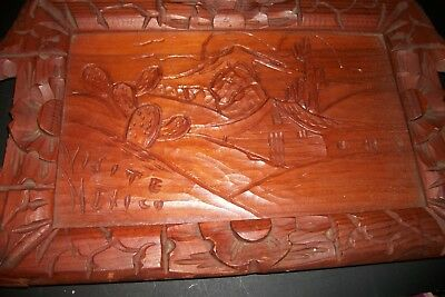 Vintage Carved  Wooden Serving Tray  Visite Mexico Under Glass With Handles