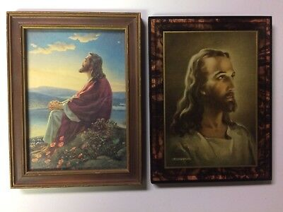 Pair of Old Vintage Religious Jesus Art Prints 1940's Framed Church Christianity