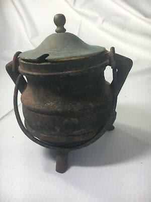 Vintage Cast Iron Cape Cod Fire Starter Antique Brass Cauldron Pot With Cover