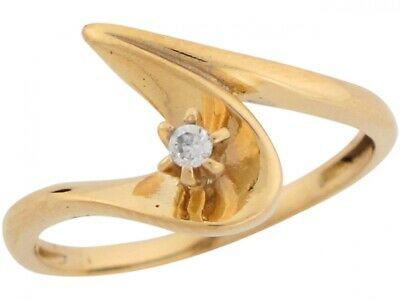 10k or 14k Yellow Gold White CZ Accent Stylish Swoop Designer Ring