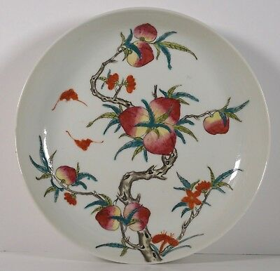 Chinese Porcelain Peaches and Bats Plate - Late Qing Guangxu marked famille Rose