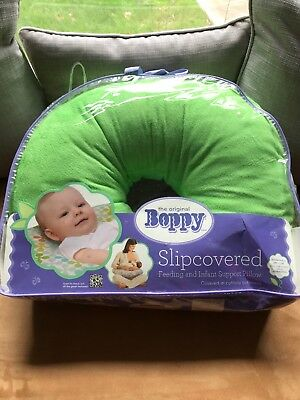 BOPPY Slipcovered Feeding Baby and Infant Support Pillow Green