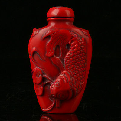 China Exquisite Red Coral Hand Carved Fish Snuff Bottle R2004+b