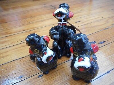Set of 3 Vintage Black Red and White Ceramic Poodle Figurines 1950s