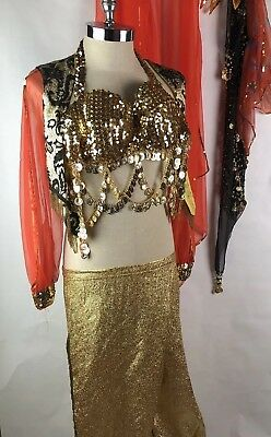 Vintage Frederick's of Hollywood Belly Dancer Costume Genie Gold Coin Bra Sexy