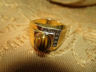 Vintage Men's 18 Karat H.G.E. Ring--Tiger Eye Stone