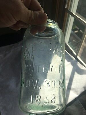 #13 Ground Lip Mason's Patent Nov 30th 1858 Crude Old With Numerous Bubbles!