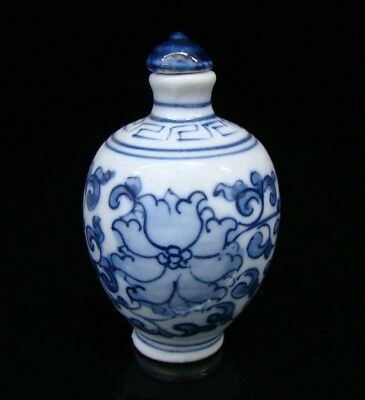 Collectible Porcelain 100% Handmade Painting Flower Snuff Bottles Blue and white