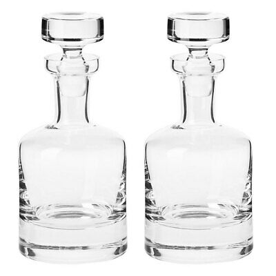 2x Krosno Sterling 750ml Glass Carafe/Decanter/Bottle Whisky/Rum/Scotch/Liquor
