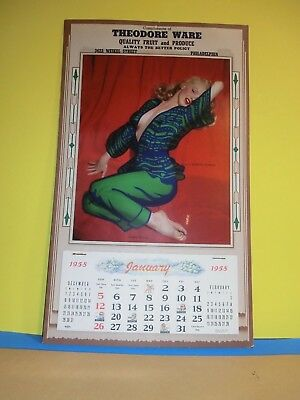 ORIGINAL MARILYN MONROE 1958 CALENDAR, with INTACT TRANSPARENT FLAPPER !