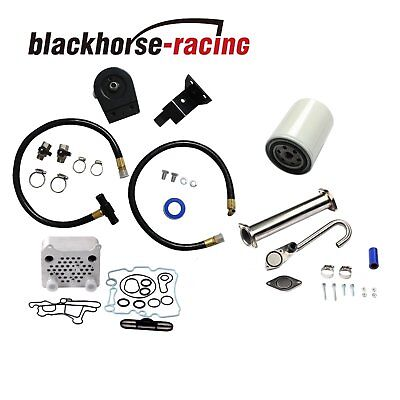 Black Coolant Filter Kit+Oil Cooler EGR Delete Kit Fit Ford Powerstroke 6.0L 03