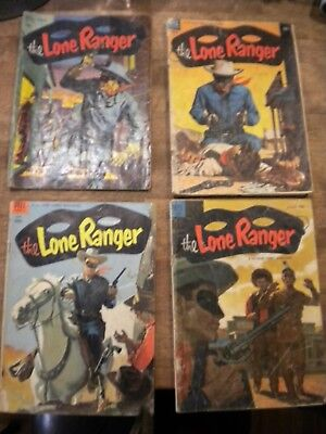 1952-54 Lot of 4 THE LONE RANGER DELL COMIC BOOKS 10c G # 50 63 68 72