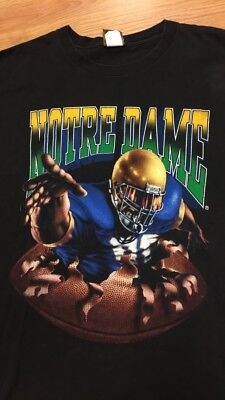Vintage Notre Dame College Football Nutmeg Double Sided Shirt L