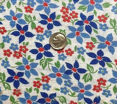 "Vintage Full Feed Sack Troubled Lovely Small Aqua & Red Floral 34"" x 37"""