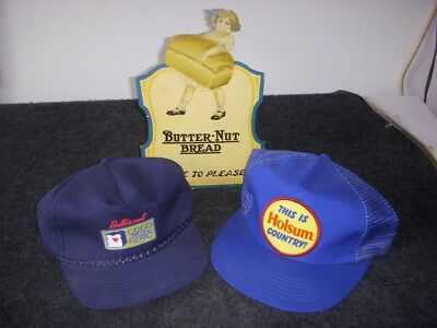 Sign Hats From Butternut Holsum Bread Sign & 2 Truckers' Ball Caps