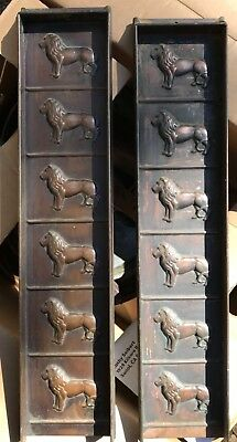 2 antique Copper Candy Chocolate Mold LIONS Rowntree Mackintosh England