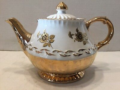 Vintage Ellgreave England White and Gold teapot