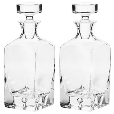 2x Krosno Legend 750ml Whisky/Scotch/Liquor Glass Carafe/Decanter/Bottle/Pitcher