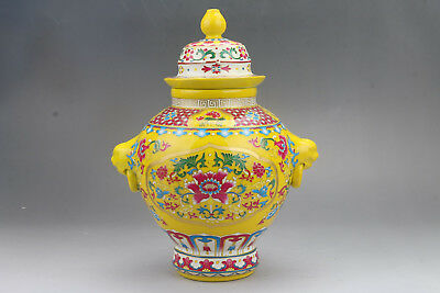 Exquisite Chinese Enamel Porcelain Painted FLOWER Storage tank  hp107