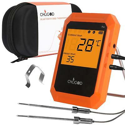 Portable Wireless Bluetooth Digital Meat Smoker BBQ Thermometer APP Controlled